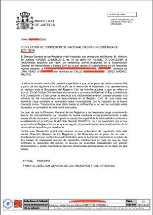 resolución concesión nacionalidad española 2016