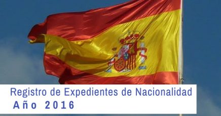 Registro Expedientes de Nacionalidad 2016. Estado actual y fecha.
