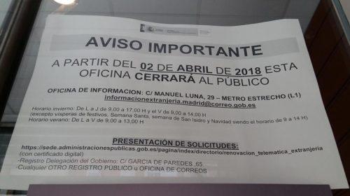 Cierre de la Oficina de Extranjería de Madrid (Plaza de Toros)