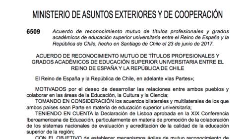 Reconocimiento de títulos académicos entre Chile y España