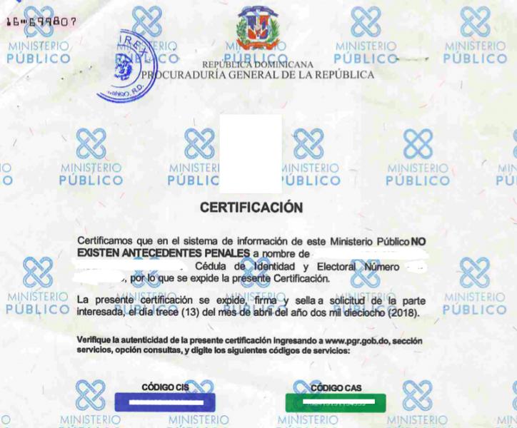 Certificado de NO Antecedentes Penales de República Dominicana