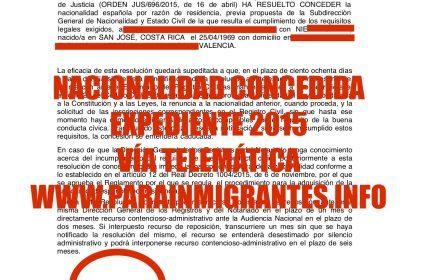 NUEVA CONCESIÓN DE NACIONALIDAD ESPAÑOLA. Expediente diciembre 2015
