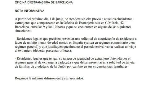 Aviso Citas Oficina de Extranjería de Barcelona