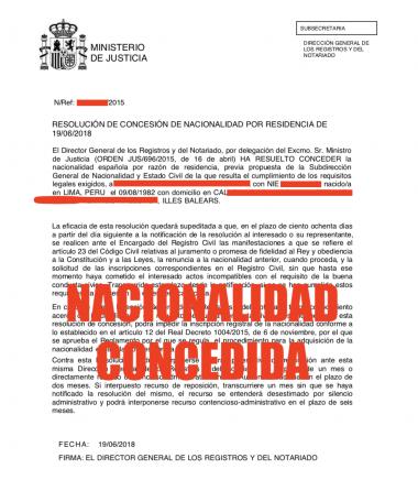 nacionalidad española concedida 2015