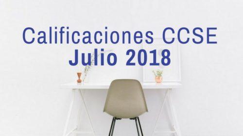 Calificaciones examen CCSE Julio 2018