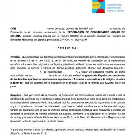 Certificado expedido por el Presidente de la Comisión Permanente de la Federación de Comunidades Judías de España