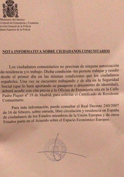 Nota informativa sobre ciudadanos comunitarios