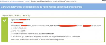 resolución favorable de nacionalidad española