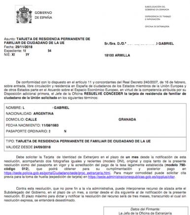 Resolucion concesion tarjeta comunitaria permanente Gabriel