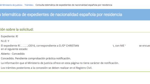 Nuevas concesiones de Nacionalidad Española