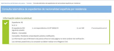Concesión Nacionalidad Española Diego F