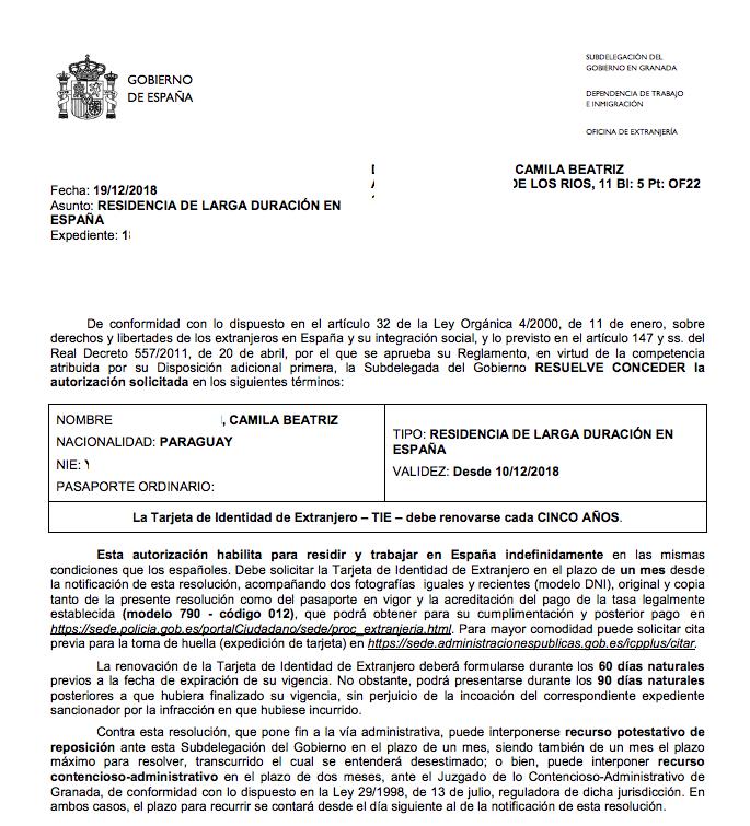 Concesión de Renovación de Autorización de Residencia