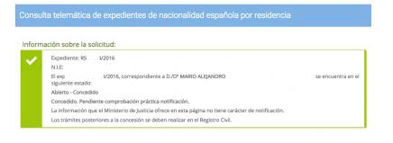 Mario Alejandro resolución favorable nacionalidad