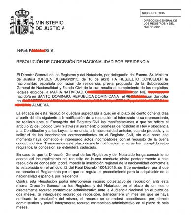 esolución concesión nacionalidad española