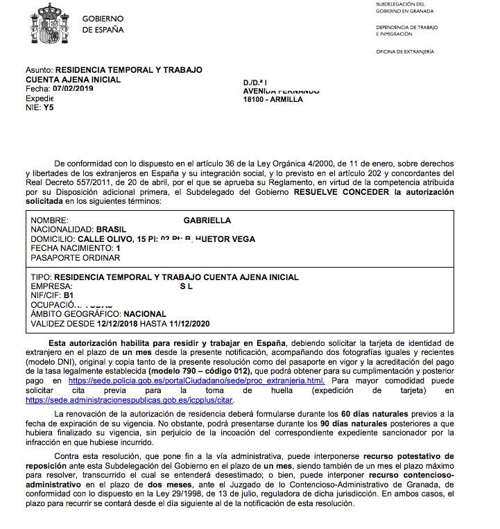 Concesión de Autorización de Residencia Temporal y Trabajo