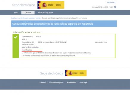 Expediente de Nacionalidad Española de 2016 en calificación
