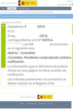Nuevas concesiones de nacionalidad en Febrero: resolución sheyla