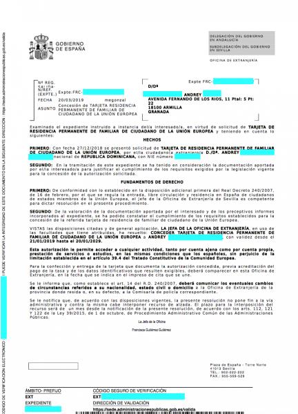 Tarjeta Residencia Permanente Familiar Comunitario UE Andrey
