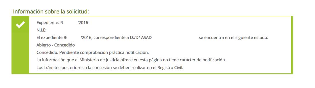 concesiones de nacionalidad Asad. Presentado el 19 de octubre. Decreto de admisión con fecha 29 de octubre