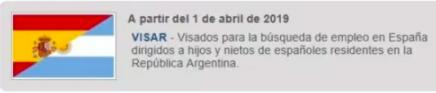 visados de búsqueda de empleo en España para hijos y nietos de españoles de origen residentes en Argentina