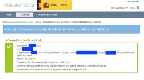 Concesiones de Nacionalidad Española: 28 de marzo de 2019