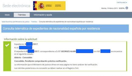 Concesiones de nacionalidad española Georges Alain