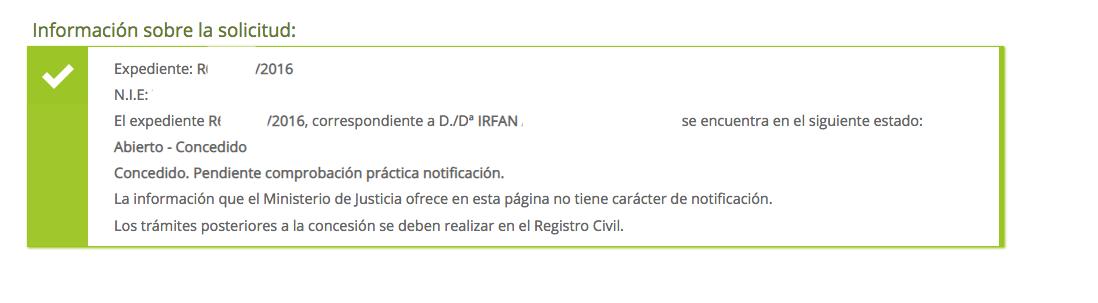 concesiones de nacionalidad Irfan. Resuelto por Contencioso. Presentado el 30 octubre. Decreto admisión el 14 de noviembre