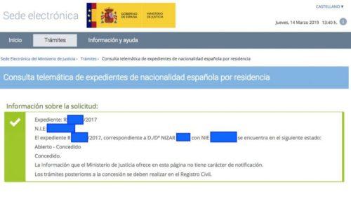 Concesiones de Nacionalidad Española: 14 marzo 2019