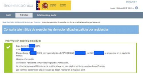 Concesiones de Nacionalidad Española: 18 de marzo de 2019