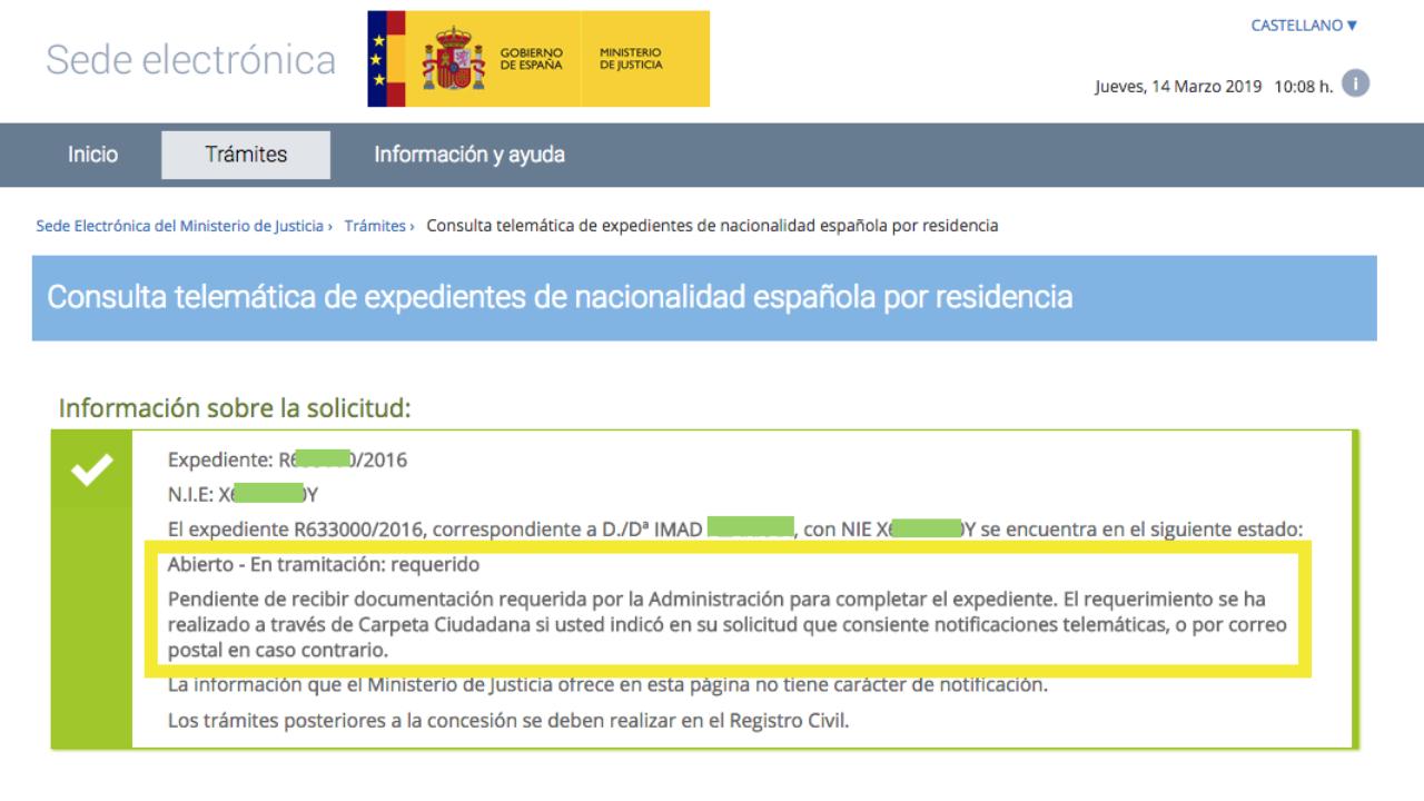 Modificacion Del Estado De Expediente De Nacionalidad Con Requerimiento