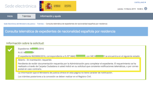Modificación del estado de Expediente de Nacionalidad con Requerimiento