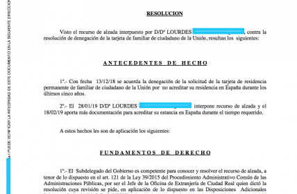 Concesión de Residencia Permanente de Familiar UE tras Recurso de Alzada