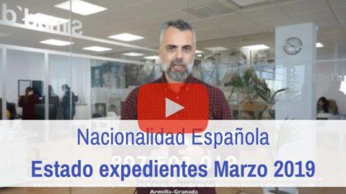 Estado actual de los expedientes de nacionalidad española. Marzo 2019