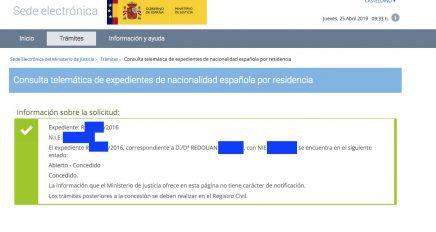 Concesiones de Nacionalidad Española Redouan