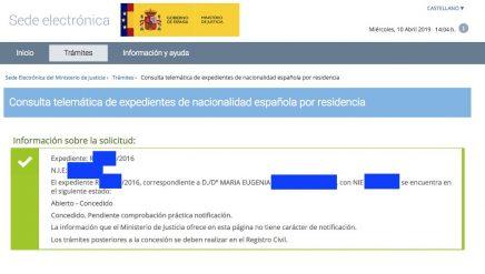 Concesiones de Nacionalidad Española María Eugenia