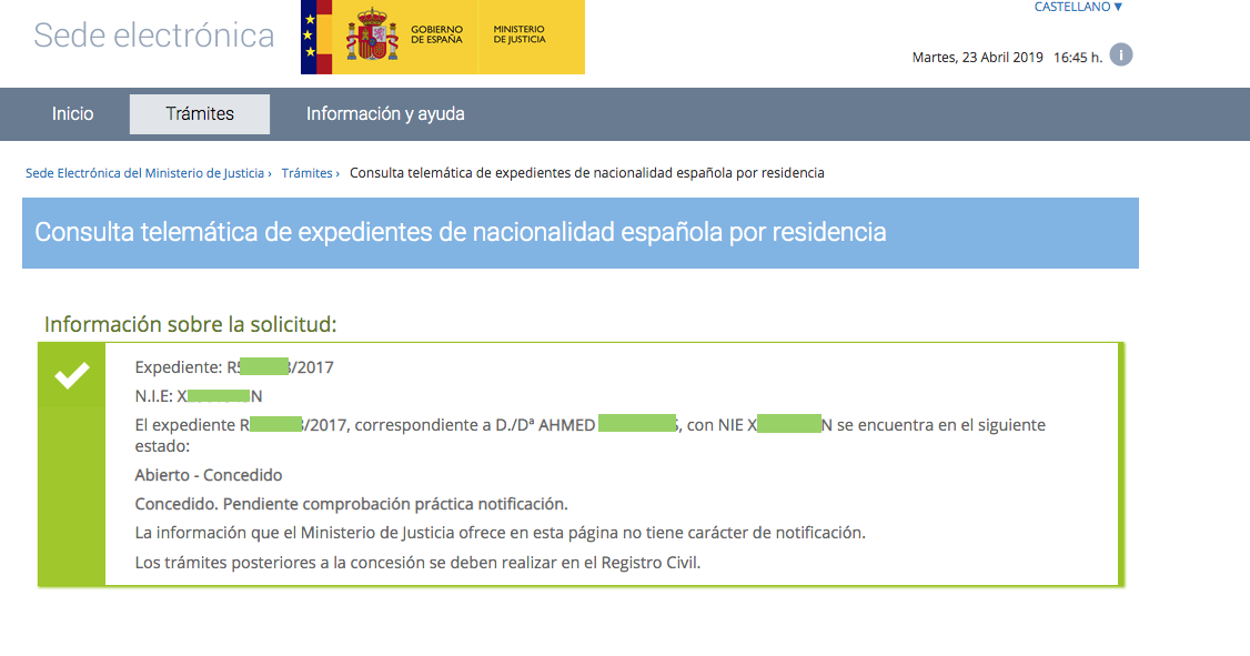 Nacionalidad española 23 abril Ahmed