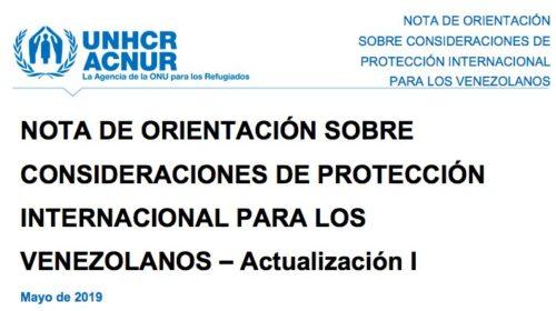 ACNUR: Consideraciones de Protección Internacional para Venezolanos
