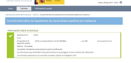 Resoluciones de Concesión de Nacionalidad Española Andrea