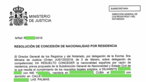 Concesiones de Nacionalidad Española: 9 Mayo 2019