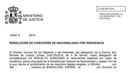 Concesiones de Nacionalidad Española Eshaal