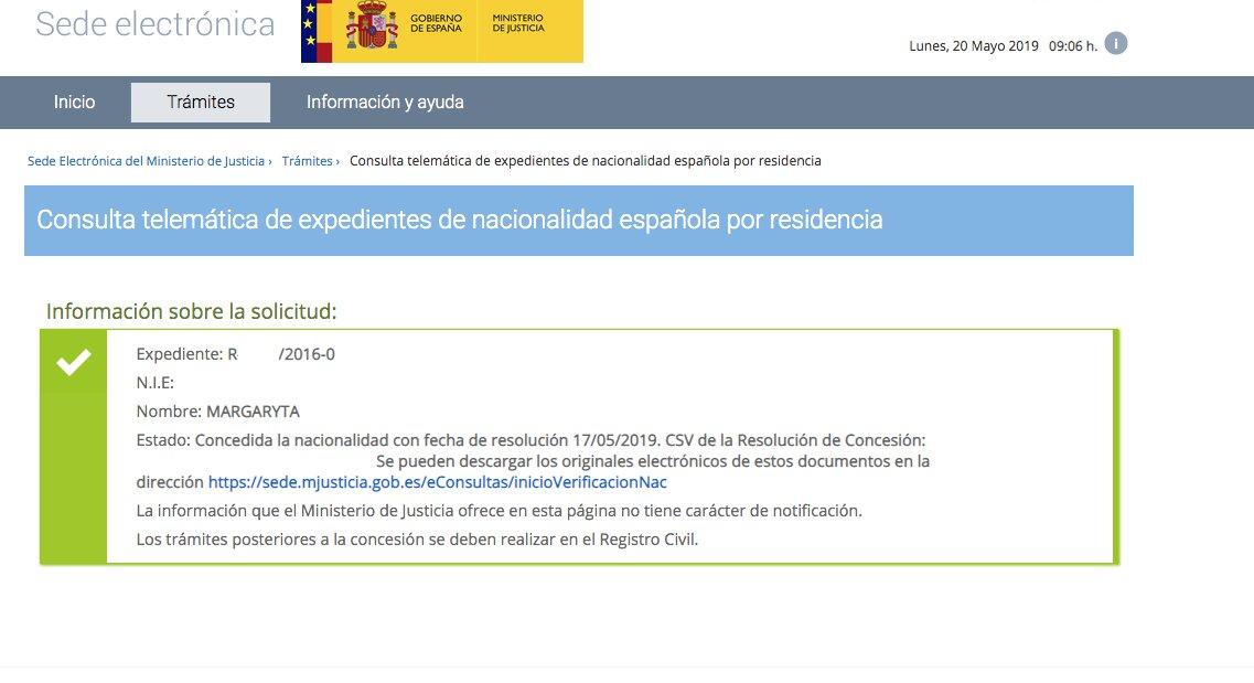 Concesiones de Nacionalidad Española Margaryta