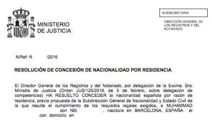Concesiones de Nacionalidad Española Muhammad