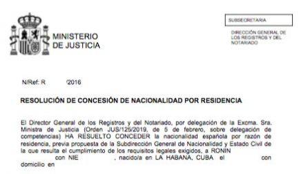Concesiones de Nacionalidad Española Ronin