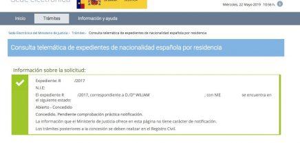 Concesiones de Nacionalidad Española Wiliam