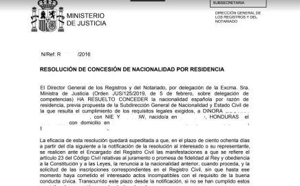resolución de concesion por vía administrativa de un expediente del año 2016