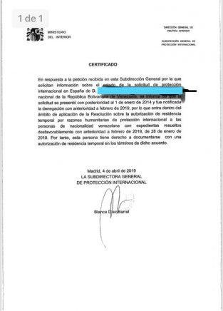protección internacional venezolano concedida