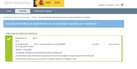 resoluciones de concesión de nacionalidad española Ahmed