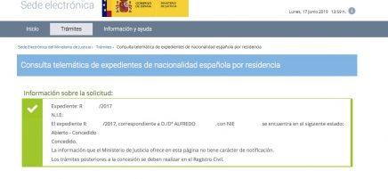 resoluciones de concesión de nacionalidad española Alfredo