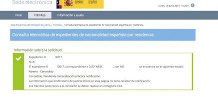 Resolución de Concesión de Nacionalidad Española Ariel