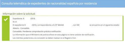 Resolución de Concesión de Nacionalidad Española Bahaa